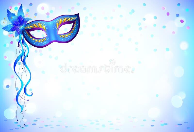 蓝色狂欢节面具和五彩纸屑轻的背景 向量例证