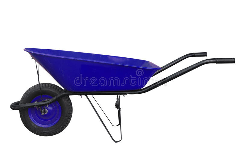 蓝色独轮车 库存图片