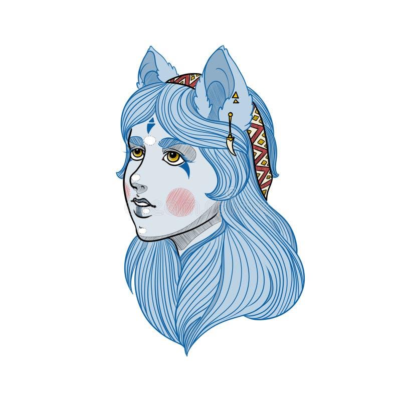 蓝色狼女孩纹身花刺portret  免版税库存图片
