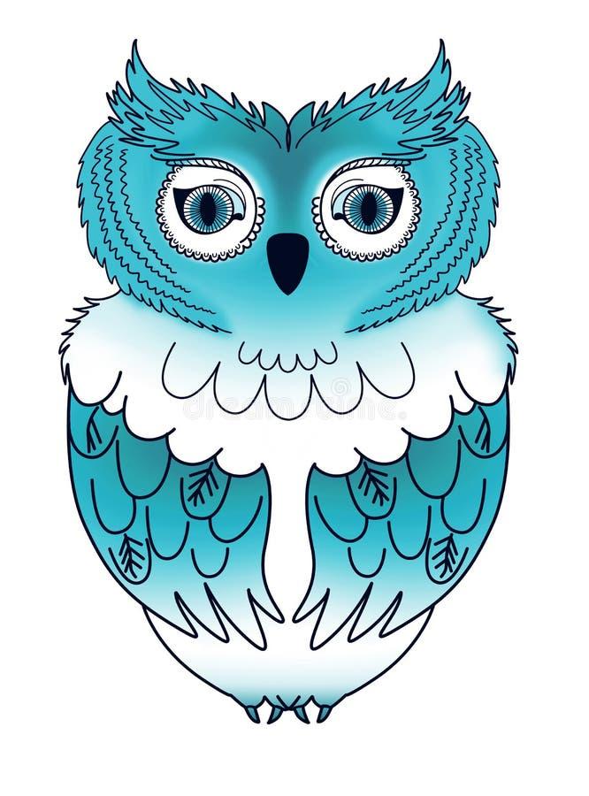 蓝色猫头鹰 皇族释放例证