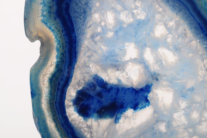 蓝色玛瑙石头宏指令  免版税库存照片