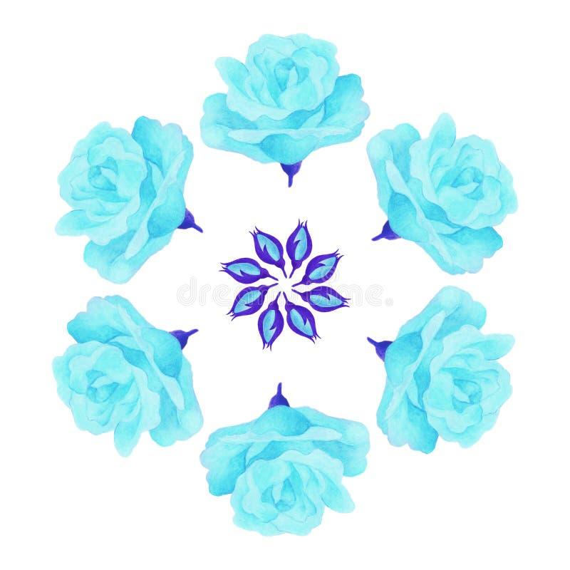 蓝色玫瑰色坛场装饰点缀 皇族释放例证