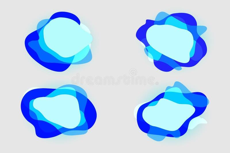 蓝色现代充满活力的斑点圆形元素层状集合 库存例证
