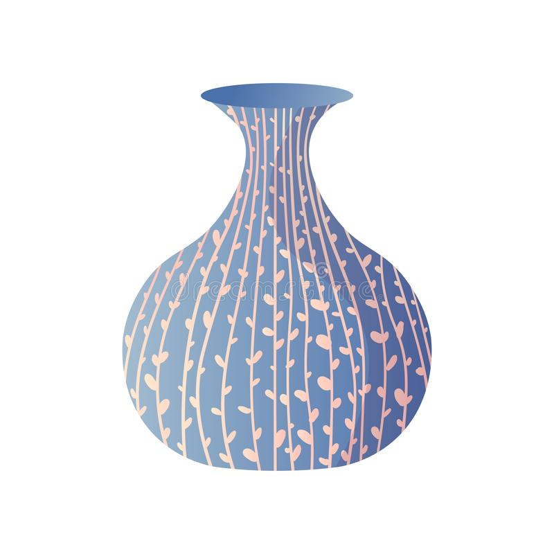 蓝色现代植物线绘图室花瓶 皇族释放例证