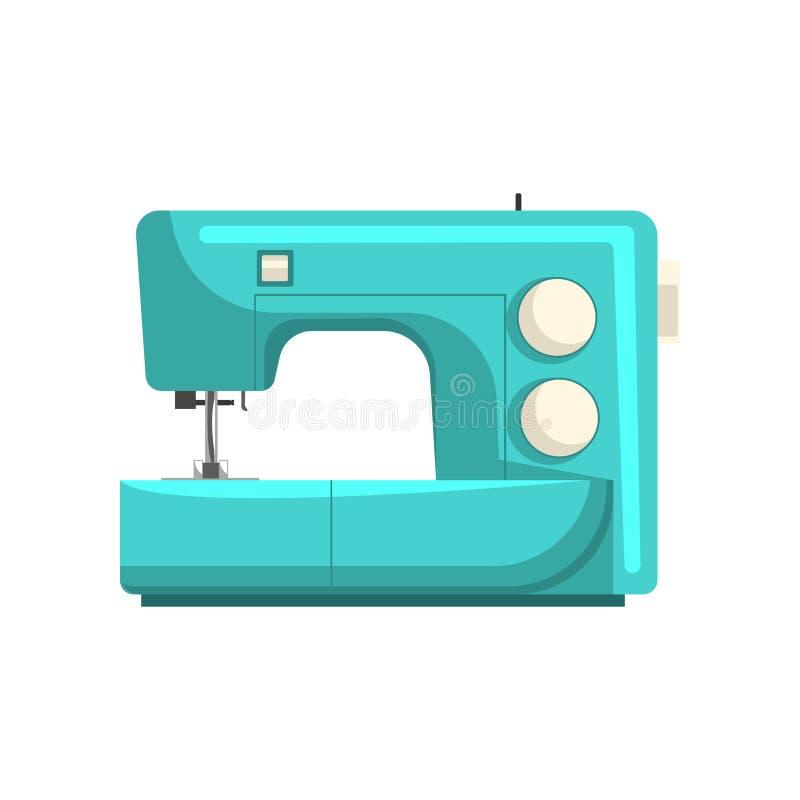 蓝色现代电子缝纫机,裁缝设备在白色背景的传染媒介例证 向量例证