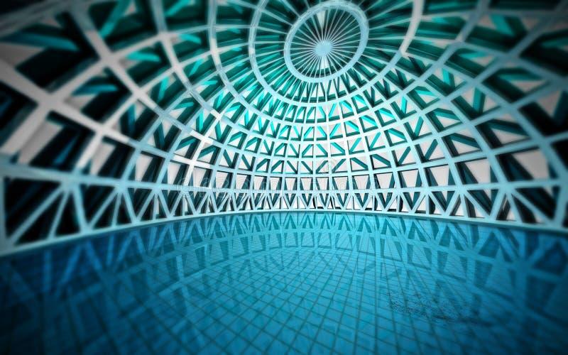 蓝色现代结构上游泳池 向量例证