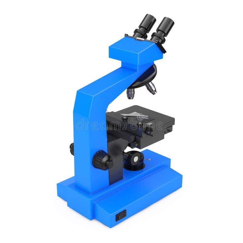 蓝色现代实验室显微镜 3d翻译 库存例证
