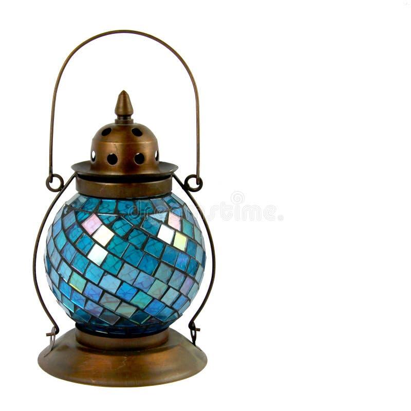 蓝色玻璃和古铜灯笼 免版税库存图片
