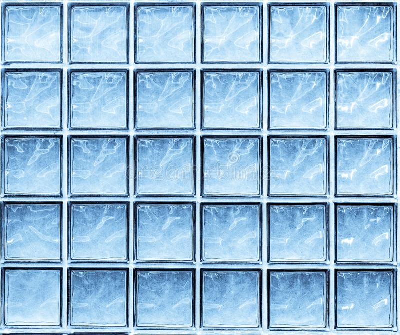 蓝色玻璃墙立方体抽象背景  库存图片