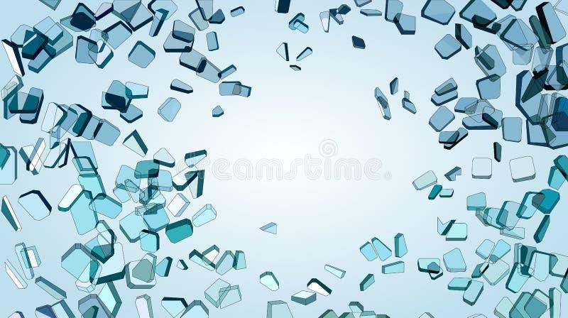 蓝色玻璃被打碎的或捣毁的片断  向量例证