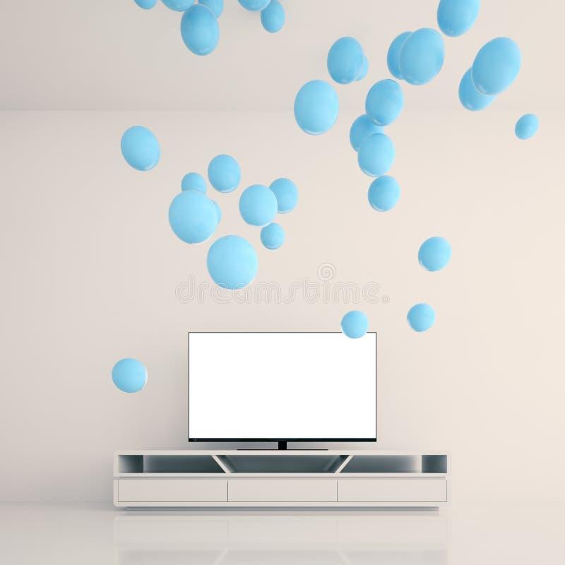 蓝色球形是由聪明的电视引起的在屋子里 库存例证