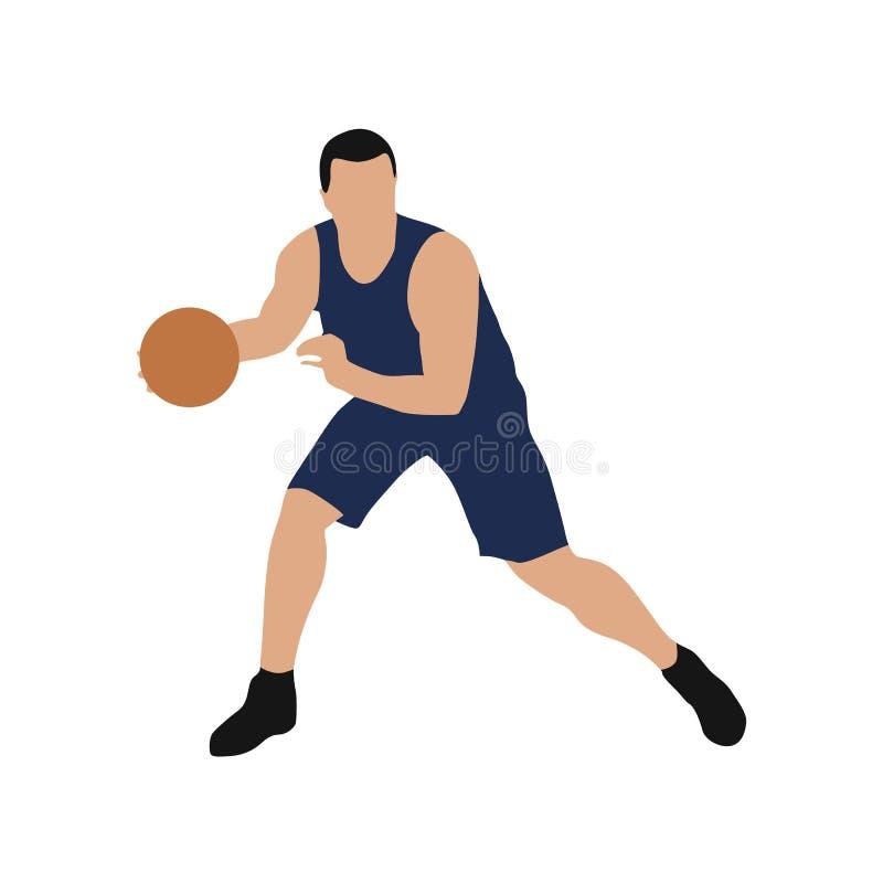 蓝色球衣的,平的设计蓝球运动员 库存例证
