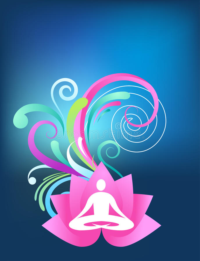 蓝色瑜伽背景 皇族释放例证