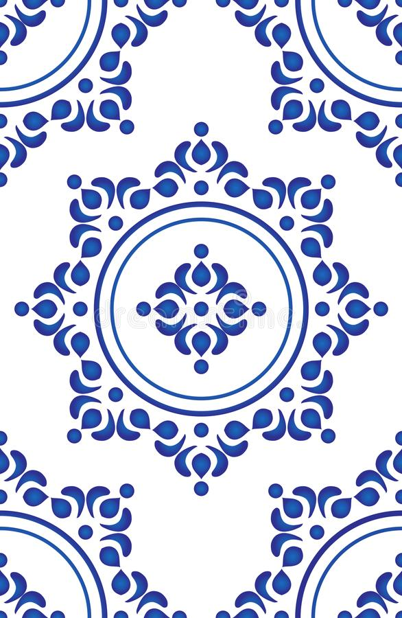 蓝色瓦片样式传染媒介 库存例证