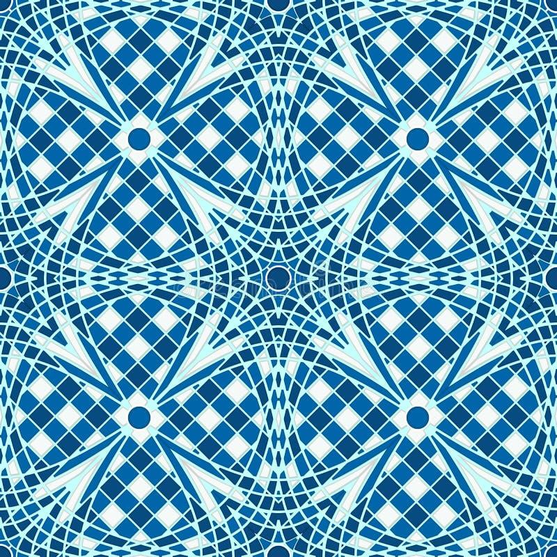 蓝色瓦片马赛克背景 向量例证