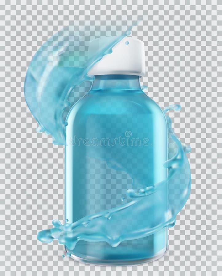 蓝色瓶和水飞溅 3d图标向量 向量例证