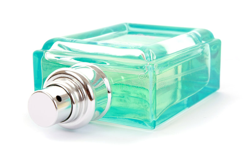 蓝色瓶香水 库存照片
