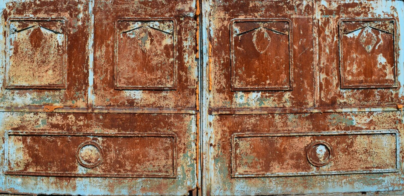 蓝色生锈的金属纹理背景 库存照片