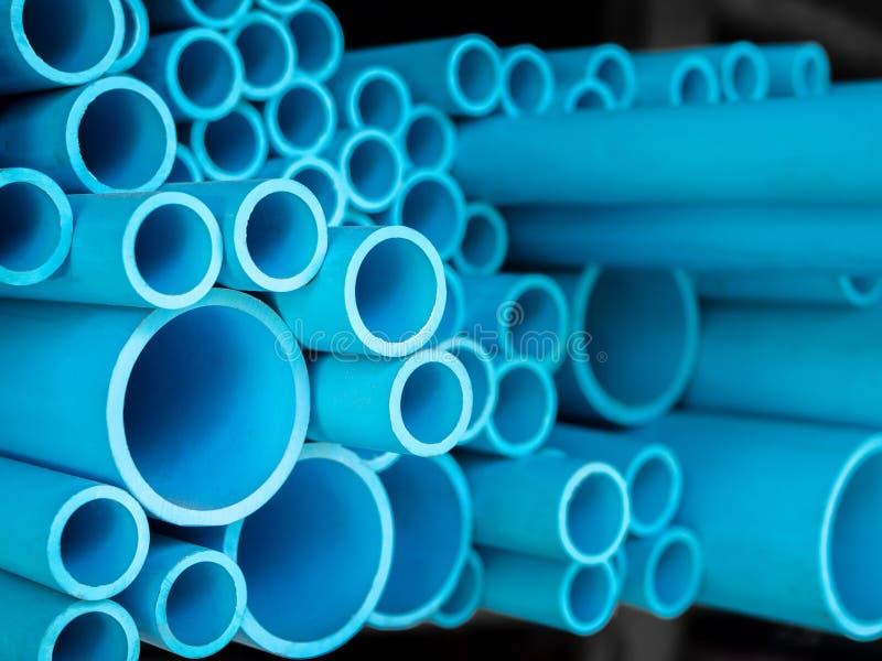 蓝色用管道输送pvc 免版税库存照片