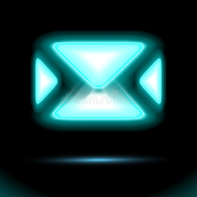 蓝色电子邮件象,发光的霓虹灯,新的传入的消息,sms 信封在黑背景的被隔绝的标志设计 邮件交付 皇族释放例证
