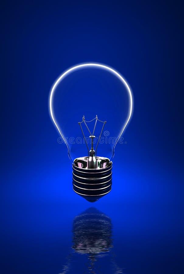 蓝色电灯泡光 库存例证