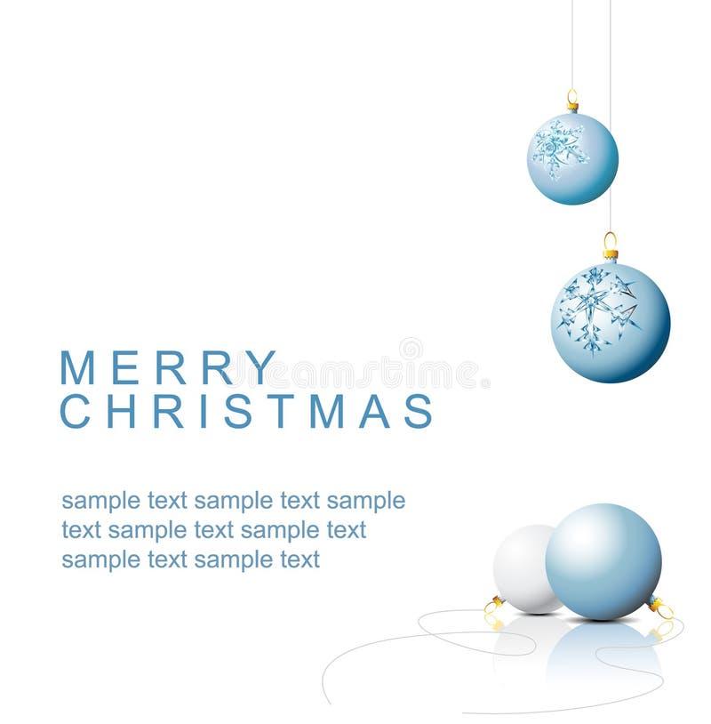 蓝色电灯泡圣诞节装饰雪花 向量例证