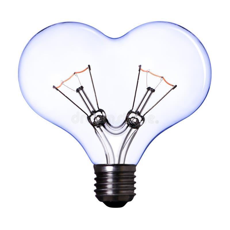 蓝色电灯泡重点闪亮指示形状 免版税库存照片