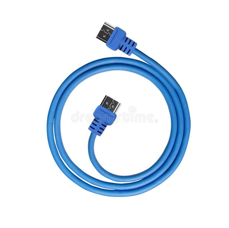 蓝色电缆usb 库存图片