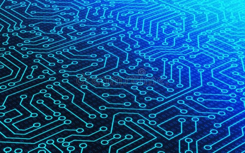 蓝色电路板样式纹理和二进制数数据代码 库存例证