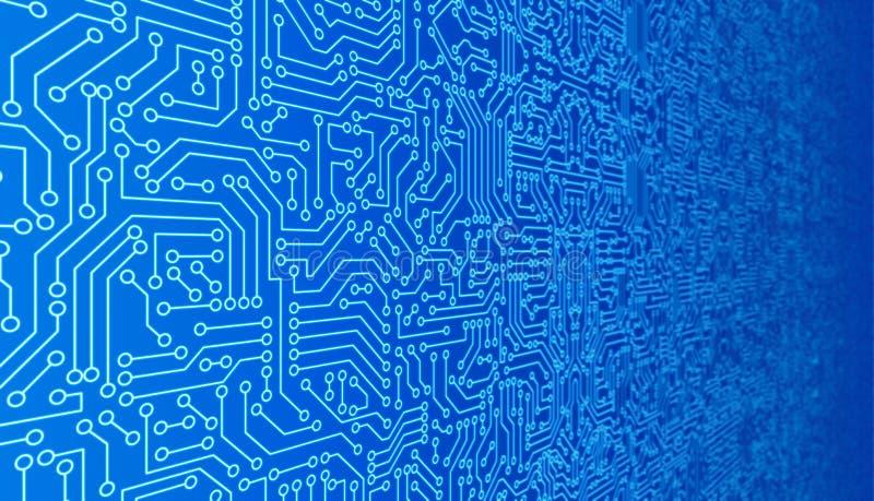 蓝色电路板样式纹理 在digi的高科技背景 皇族释放例证