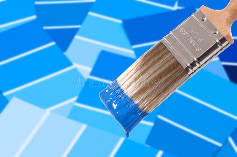 蓝色画笔油漆 免版税图库摄影