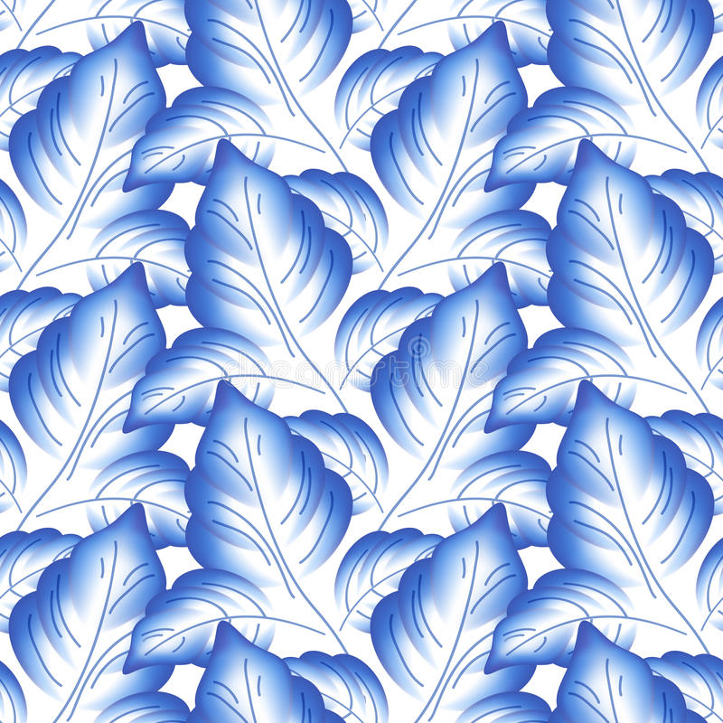 蓝色留下花卉俄国瓷美丽 库存例证