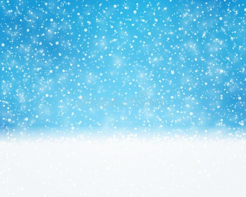 蓝色白色假日,冬天,与降雪的圣诞卡 库存例证