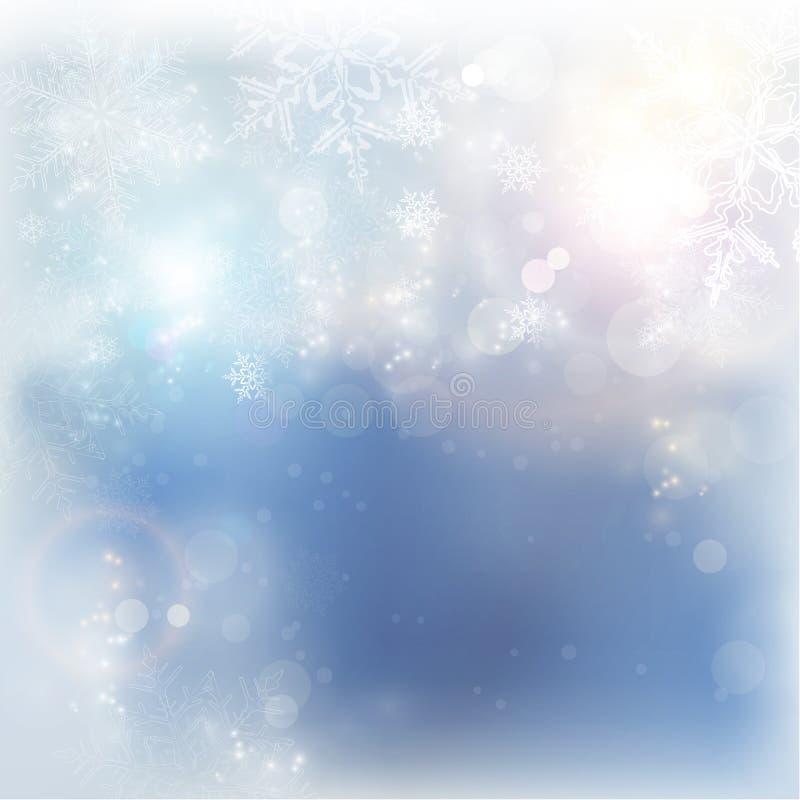 蓝色白色冬天圣诞节雪花背景 向量例证