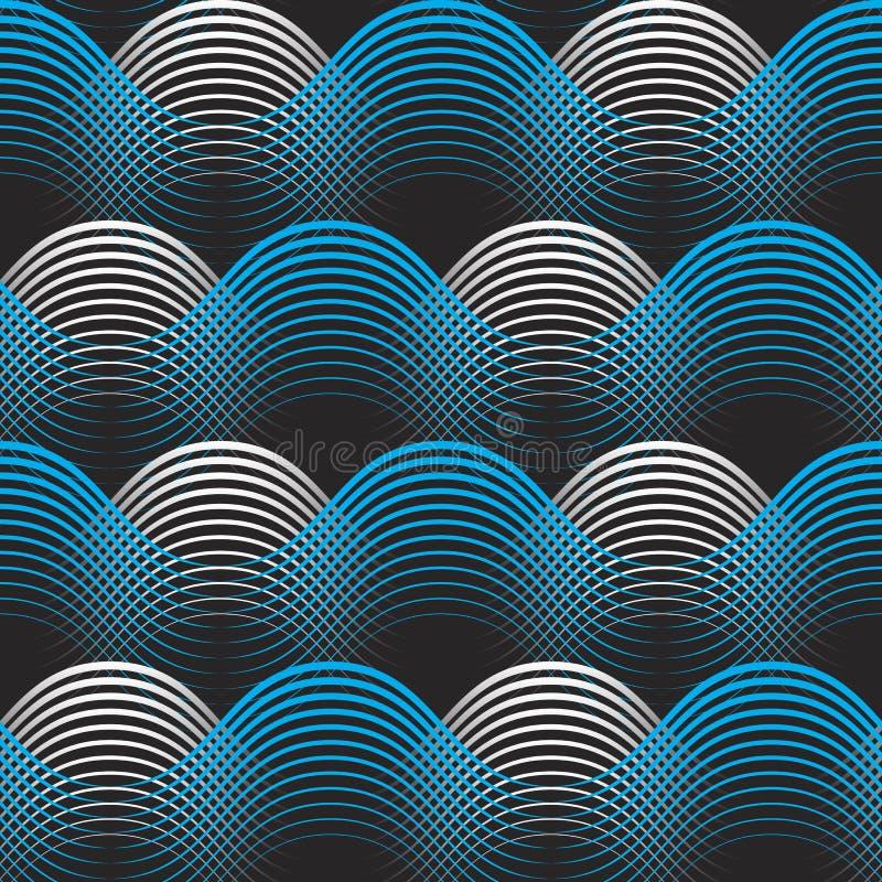 蓝色白色几何线无缝的样式背景 皇族释放例证