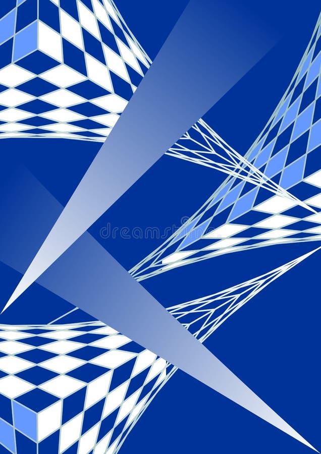 蓝色白色现代未来派设计、3d栅格和梯度, techno样式 库存例证