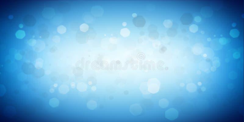 蓝色白色空的发光的全景bokeh背景 皇族释放例证