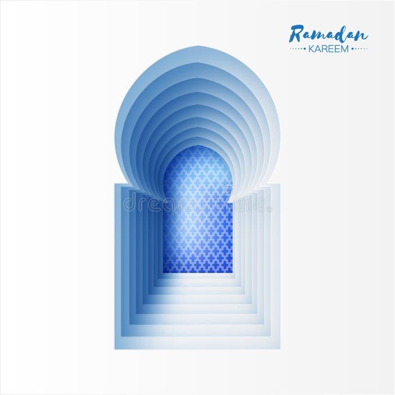 蓝色白色Origami清真寺窗口赖买丹月Kareem贺卡 向量例证
