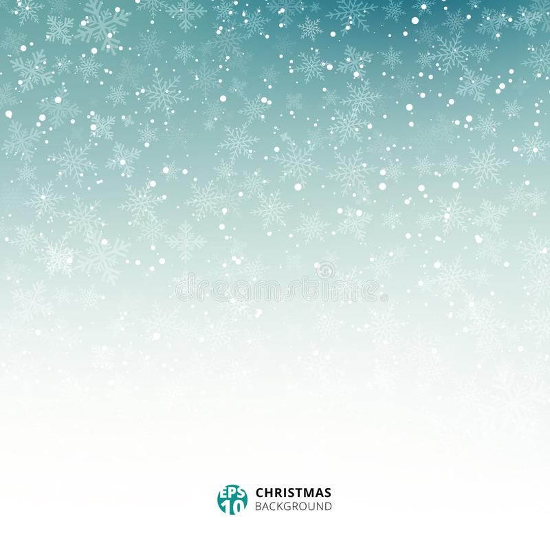 蓝色的冬天和白色背景圣诞节由雪花制成 库存例证