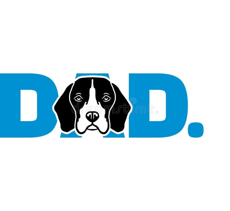 蓝色的小猎犬爸爸 向量例证