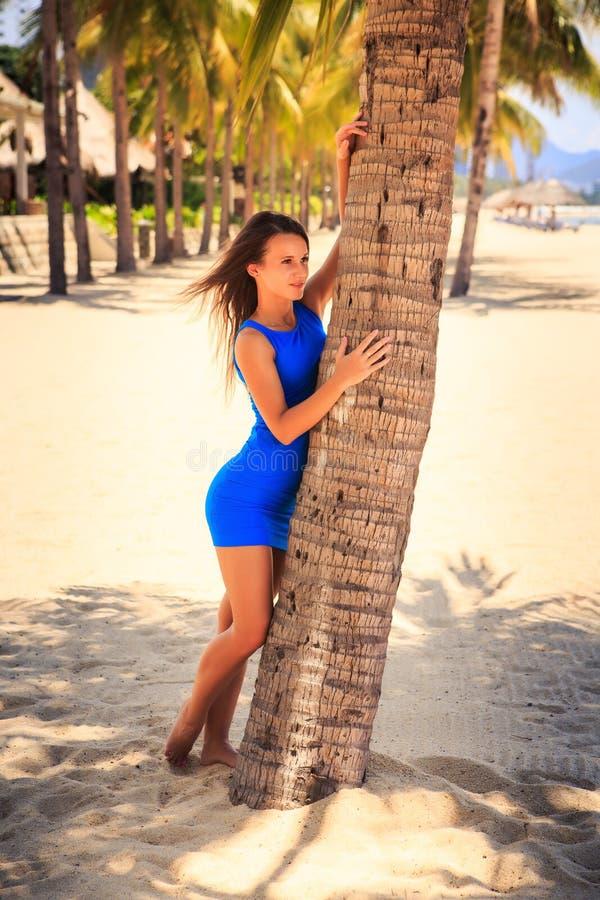 Download 蓝色的深色的女孩赤足接触棕榈反对棕榈行 库存图片. 图片 包括有 喜悦, 节假日, 海运, 设计, 无耻的 - 59104973