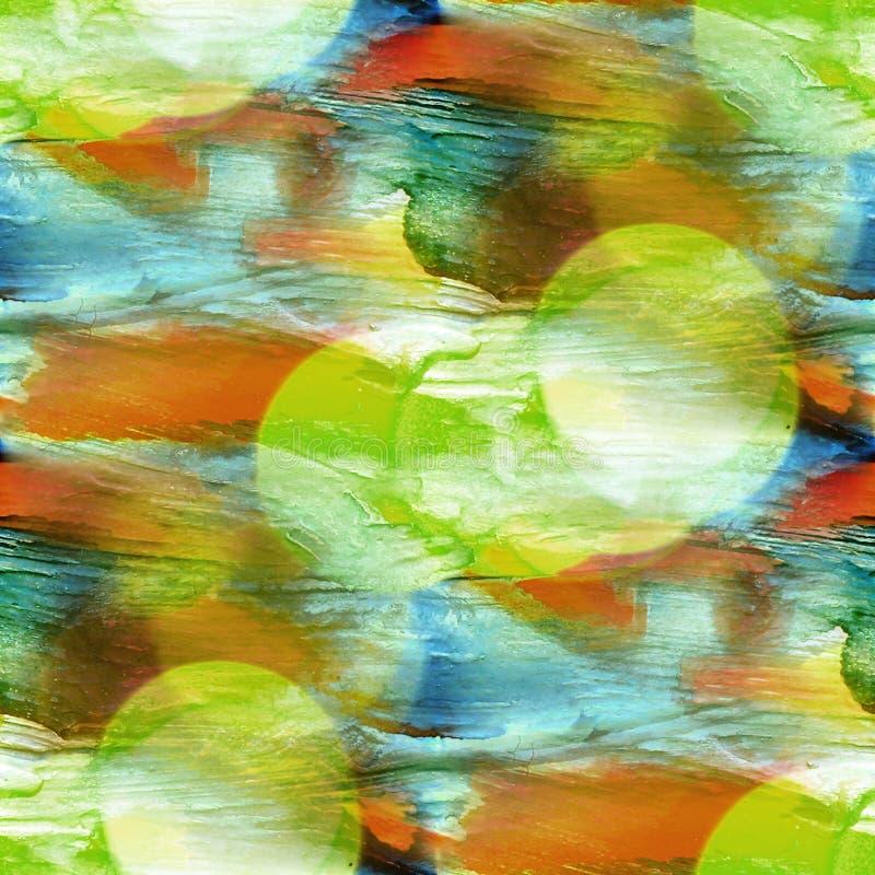 蓝色的Bokeh,绿色,黄色五颜六色的样式水纹理油漆a 皇族释放例证