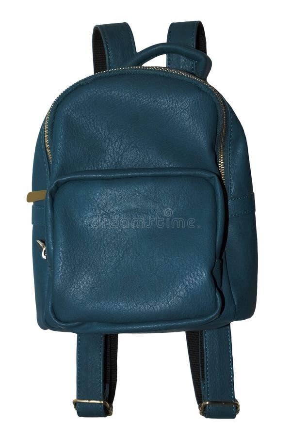 蓝色皮革减速火箭的背包 库存图片