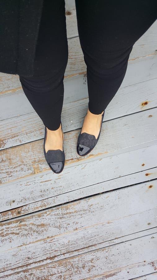 蓝色皮革soled鞋子 免版税库存图片