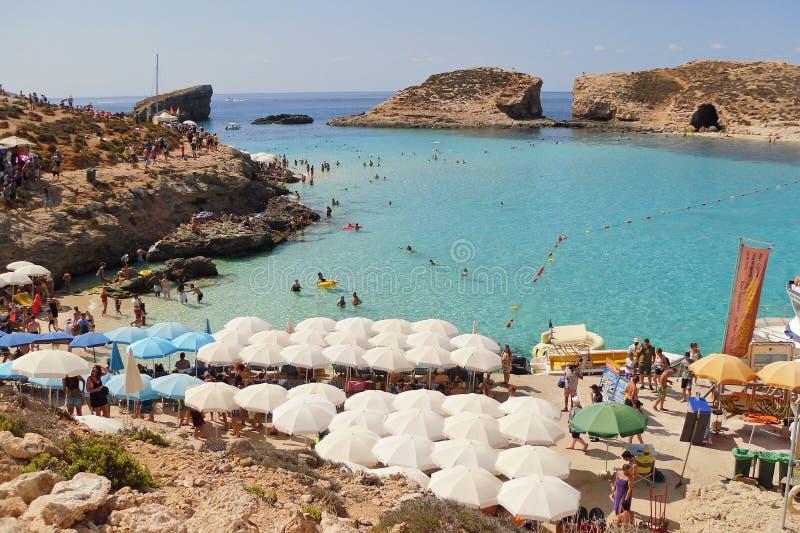 蓝色盐水湖在马耳他戈佐岛 图库摄影