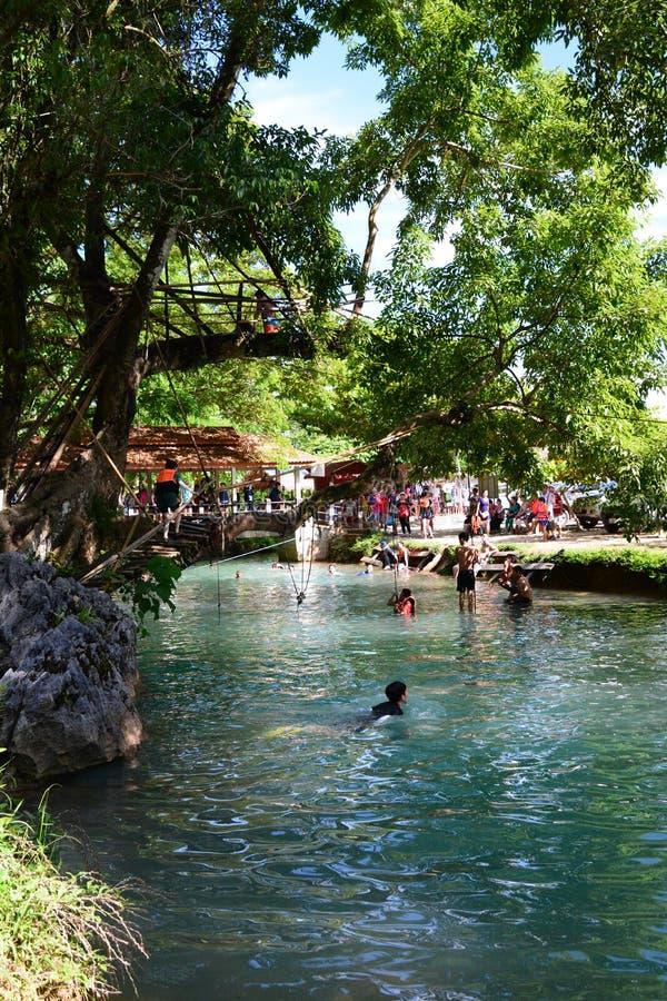 蓝色盐水湖 Vang Vieng 老挝 免版税库存图片