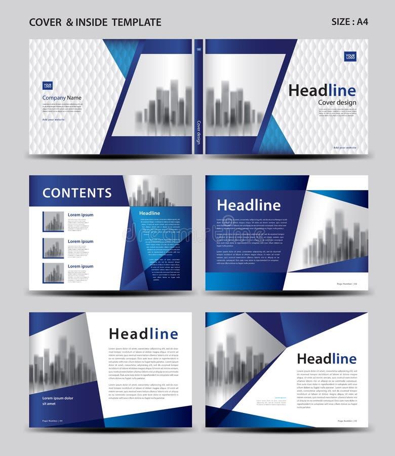蓝色盖子设计和里面模板杂志的,广告,介绍,年终报告,书,传单,海报,编目,打印 库存例证