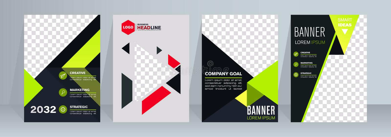 蓝色盖子集合企业小册子传染媒介设计 给的传单与照片的背景做广告 现代杂志布局 库存例证