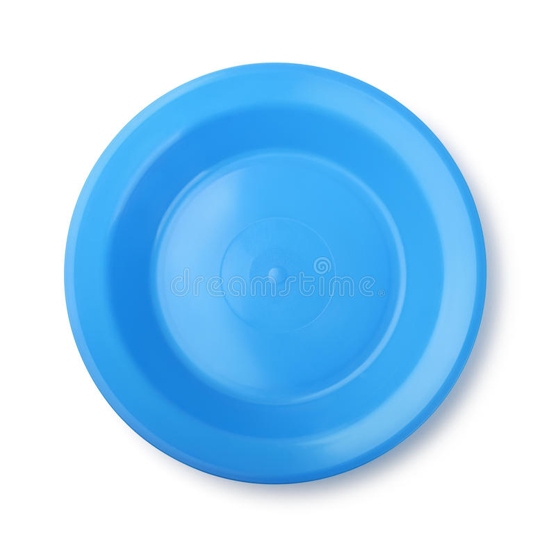 蓝色盘塑料 库存图片