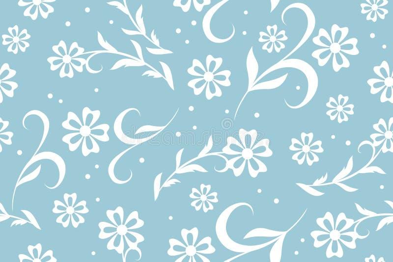 蓝色盘旋花卉模式无缝的向量 库存例证